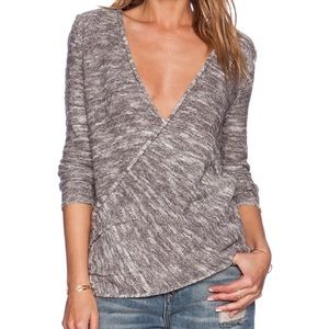 Free People - Grey Marled Gotham Wrap Sweater - XS
